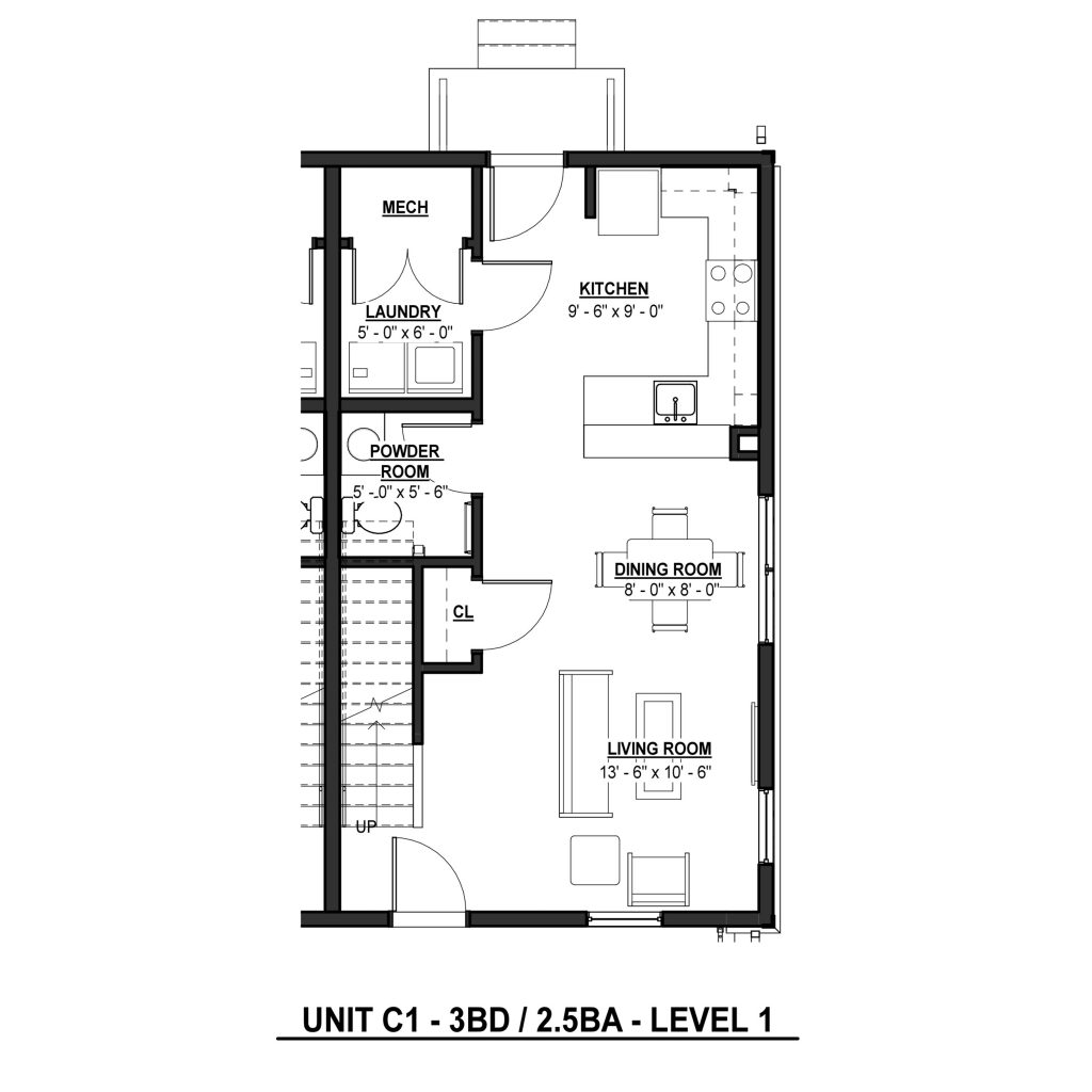 C1 3BR | 2.5BA 1380 Sq Ft Level 1