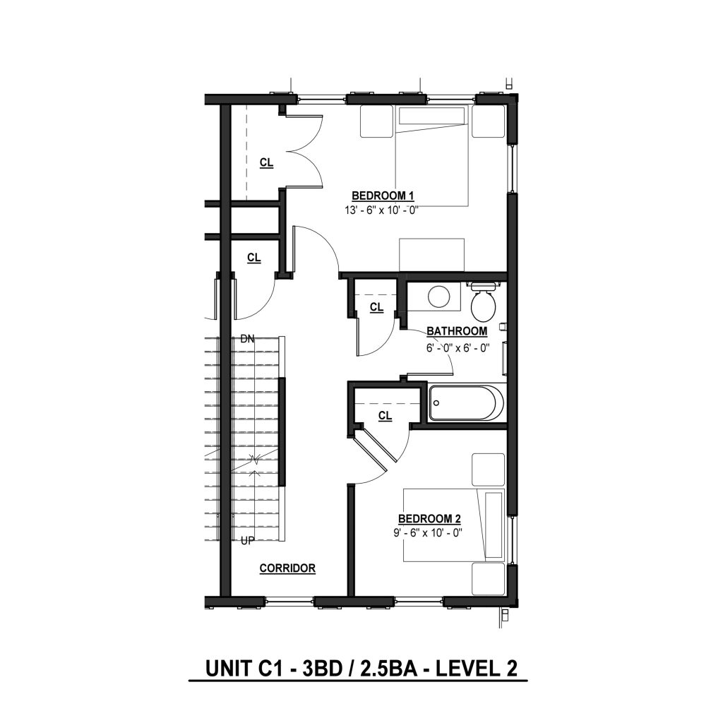 C1 3BR | 2.5BA 1380 Sq Ft Level 2