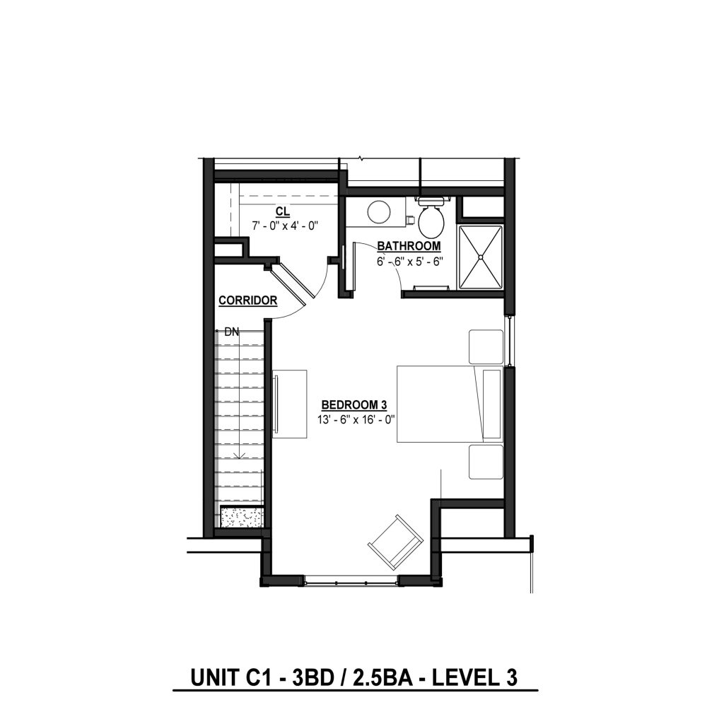 C1 3BR | 2.5BA 1380 Sq Ft Level 3