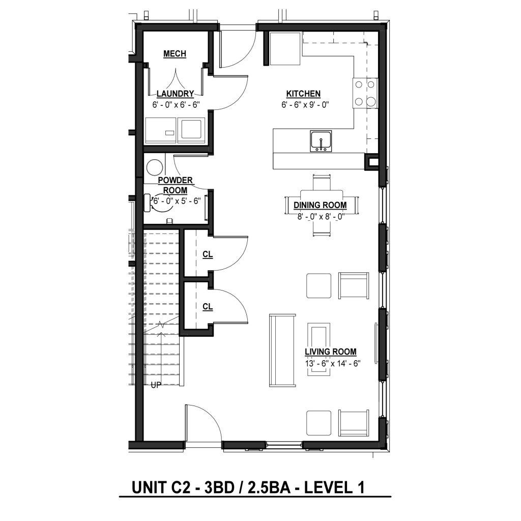 C2 3BR 2.5BA | 1403 Sq Ft Level 1