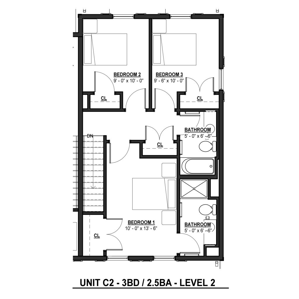 C2 3BR 2.5BA | 1403 Sq Ft Level 2